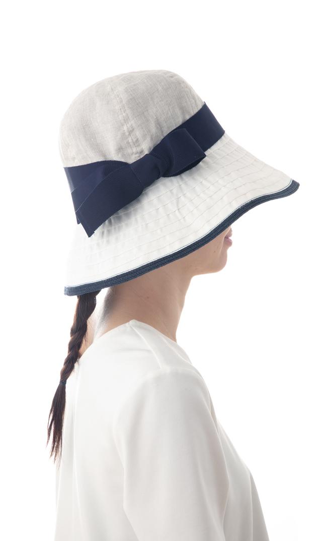 【ハッツアンドドリームス(Hats&Dreams)】リボンリネンハット(ネイビー)[折りたたみ可]