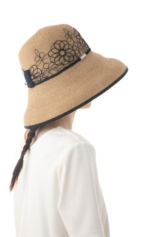 《母の日キャンペーン対象》【ハッツアンドドリームス(Hats&Dreams)】フラワーレースペーパーハット(ブラック)[折りたたみ可]