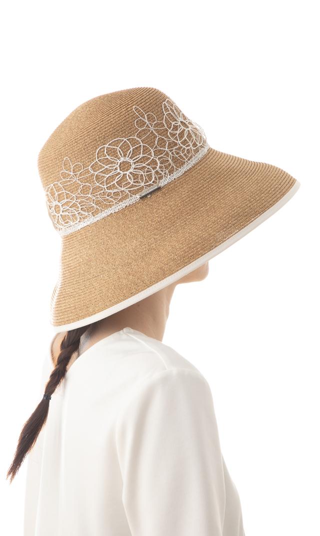 《母の日キャンペーン対象》【ハッツアンドドリームス(Hats&Dreams)】フラワーレースペーパーハット(ホワイト)[折りたたみ可]