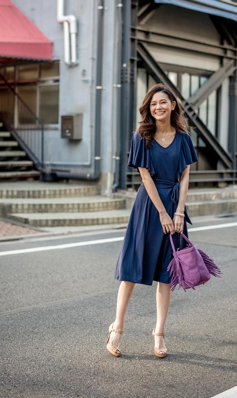 【キミアンドカイ(kimi+kai)】レイアドレープスリーブナーシングドレス(ネイビー)