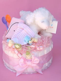 【こうのとりさんのおむつケーキ】ダイパーケーキ1段 (ひつじのウィンキー ピンク)