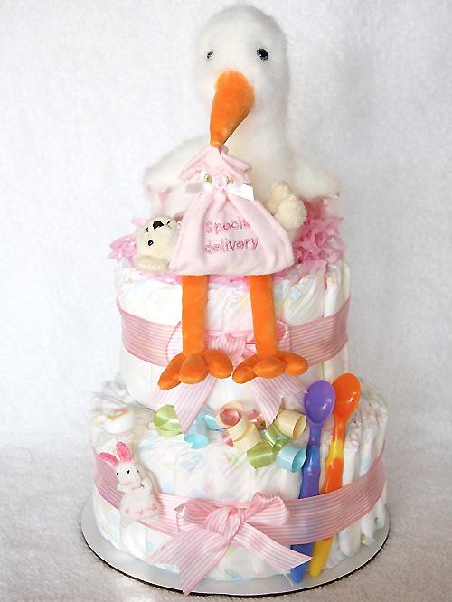 【こうのとりさんのおむつケーキ】ダイパーケーキ2段 (こうのとり ピンク)
