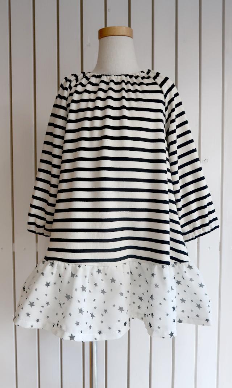 【リンジーバーンズ(Lindsey Berns)】ルールードレス(ブラックボーダー×ホワイト)/2歳-6歳