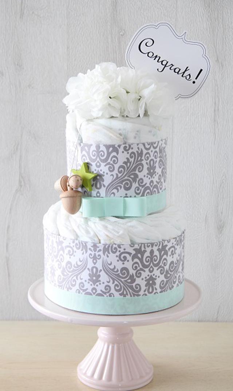【ラクーシュパステル(LA couche Pastel)】ラクーシュパステル Kiko+の木のおもちゃ付きオーガニックダイパーケーキ(ホワイト&グレー )