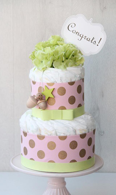 【ラクーシュパステル(LA couche Pastel)】Kiko+の木のおもちゃ付きオーガニックダイパーケーキ(ピンク&グリーン)