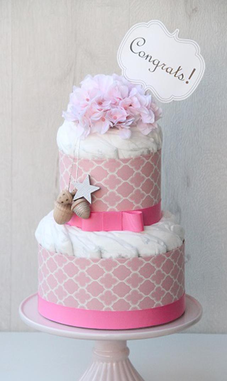 【ラクーシュパステル(LA couche Pastel)】ラクーシュパステル Kiko+の木のおもちゃ付きオーガニックダイパーケーキ(ピンク)