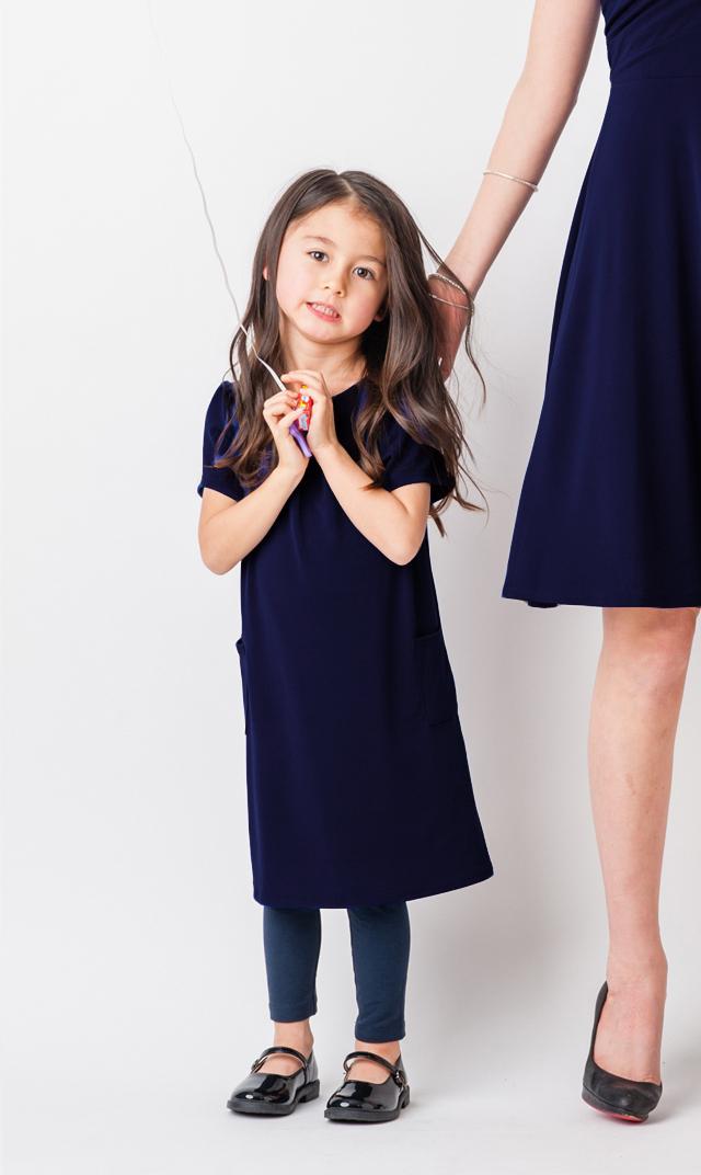 【VIRINA別注/リトルレオタ(Little LEOTA)】ポケットドレス(ネイビー)2-10歳