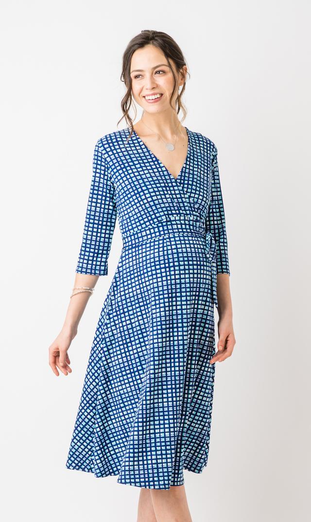 【レオタ(LEOTA)】マタニティ・パーフェクトダブルラップドレス(サマープレイド)/同柄子供服あり