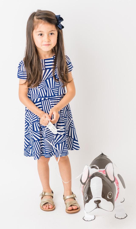 【リトルレオタ(Little LEOTA)】イラーナショートスリーブドレス(ストリップ&クルーズ)2-7歳