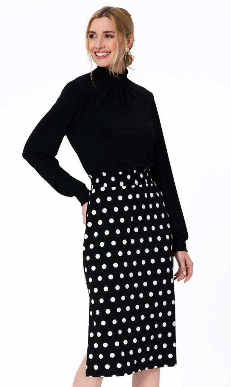 【レオタ】ノンマタニティ・ポルカドットスカート(ブラック×ホワイト)