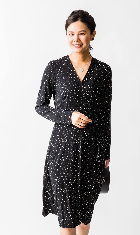 【レオタ(LEOTA)】ノンマタニティ・スターリーナイトラップドレス(ブラック)