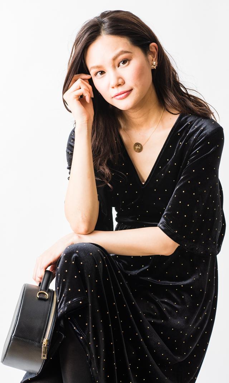 【レオタ(LEOTA)】ノンマタニティ・ゾーイドットベルベットドレス(ブラック)
