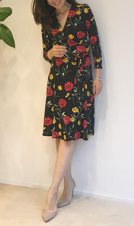 【レオタ】ノンマタニティ・ポピープリントドレス