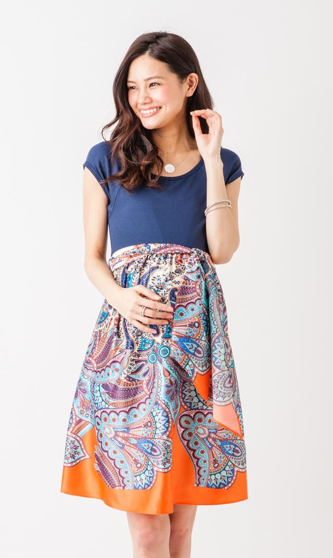 【マターナル アメリカ(maternal america)】スクープネックタイフロントドレス(ネイビー×ペイズリー)