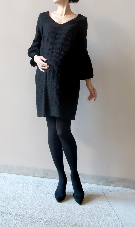 【マターナル アメリカ(maternal america)】Vネックバブルスリーブドレス(ブラック)