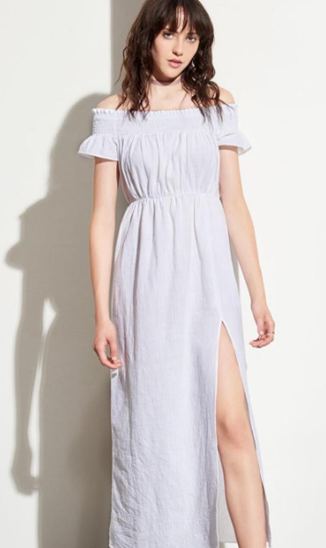 【アマディ(AMADI)】スモークスリットドレス(ホワイト)