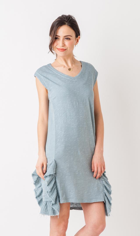【アマディ(AMADI)】ラッフルポケットドレス(グレー)