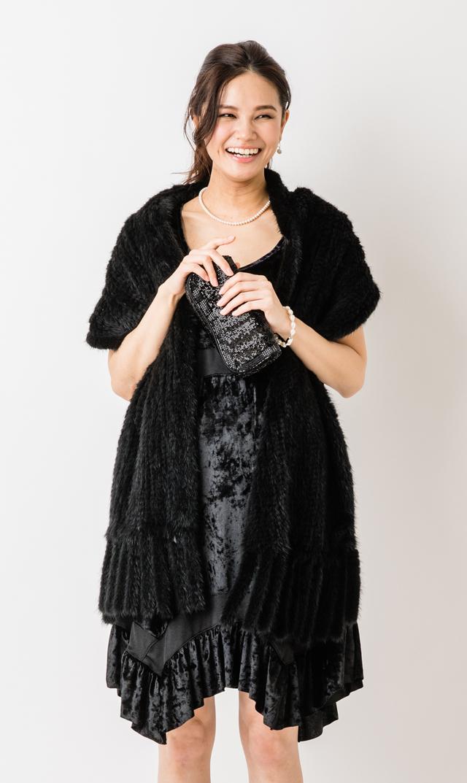 【マターナル アメリカ(maternal america)】ノースリーブベルベットドレス(ブラック)