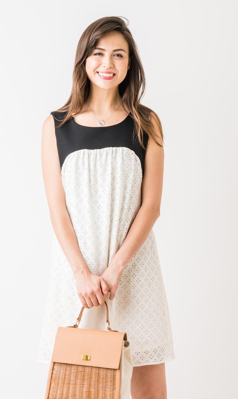 【マターナル アメリカ(maternal america)】アイレットドレス(ブラック×ホワイト)