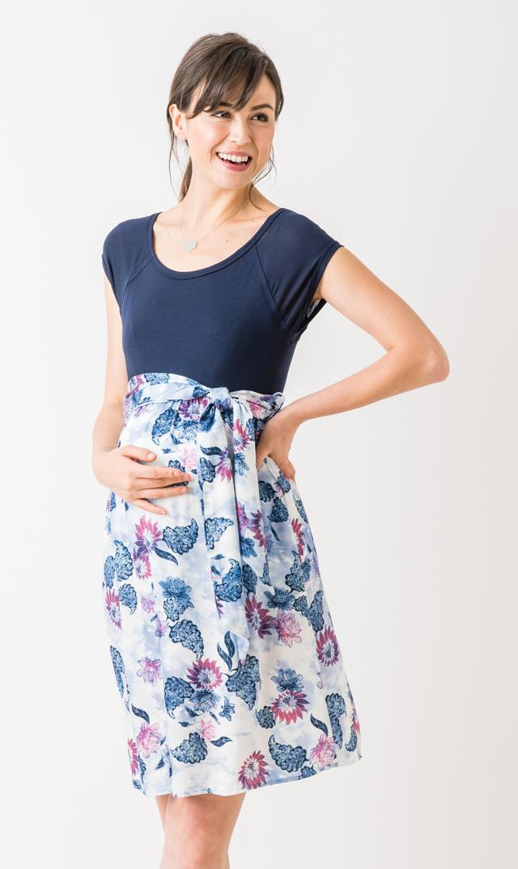 【マターナル アメリカ(maternal america)】スクープネックタイフロントドレス(ネイビー×ブルーローズ)