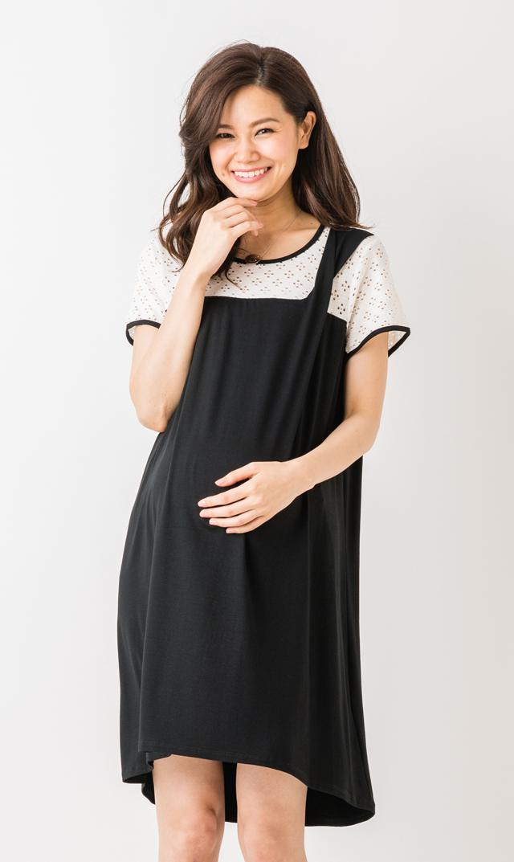 【マターナル アメリカ(maternal america)】ドレープドレス(ホワイト×ブラック)