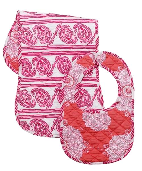 【マサラ ベイビー】ビブ×バープクロスセット(ピンク×コラム)
