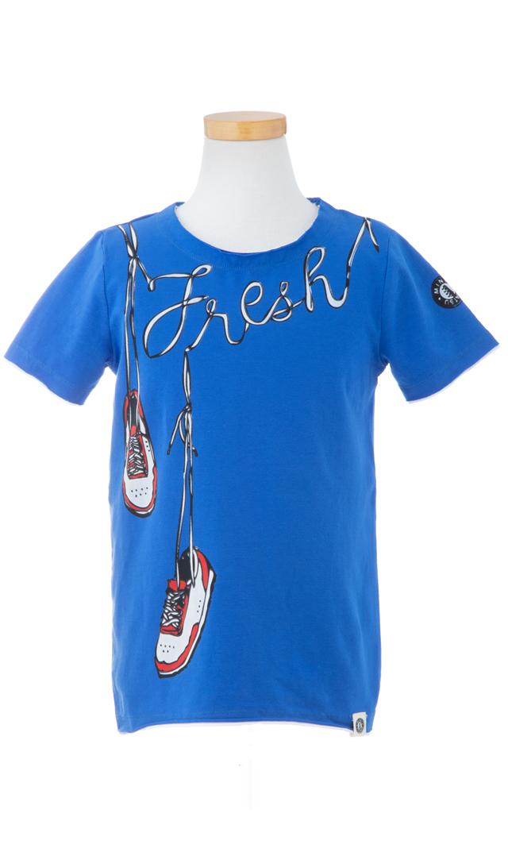 【ミニシャツ(mini shatsu)】Fresh KiksTシャツ(ブルー)/2歳-6歳