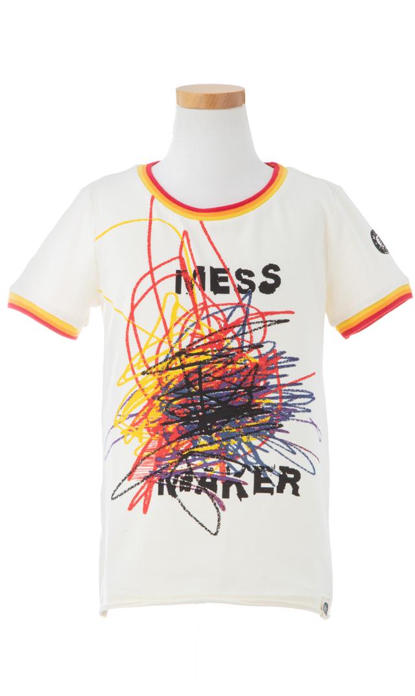 【ミニシャツ(mini shatsu)】Mess MakerTシャツ(ホワイト)/2歳-6歳