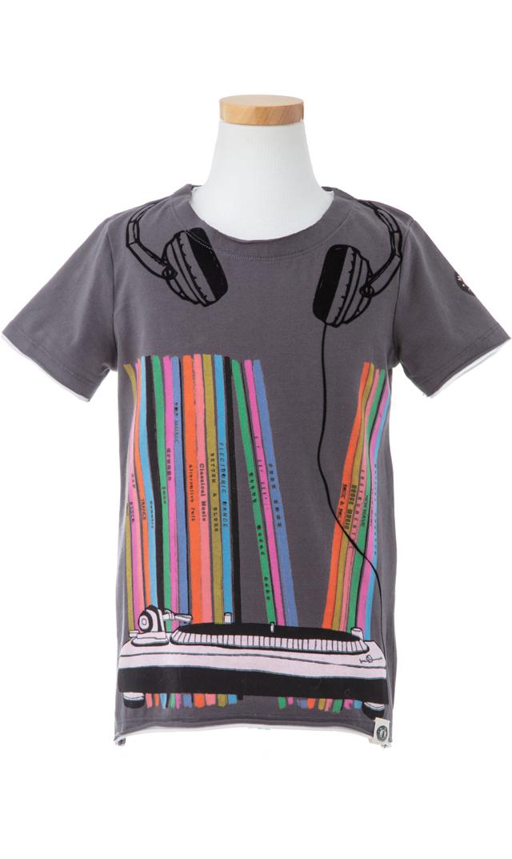 【ミニシャツ(mini shatsu)】Vinyl CollectionTシャツ(ブラック)/2歳-6歳