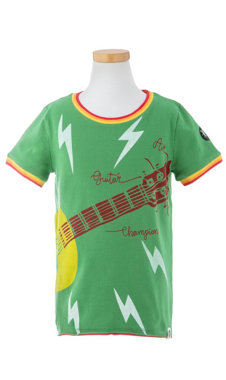 【ミニシャツ(mini shatsu)】Air Guitar ChampTシャツ(グリーン)/2歳-6歳