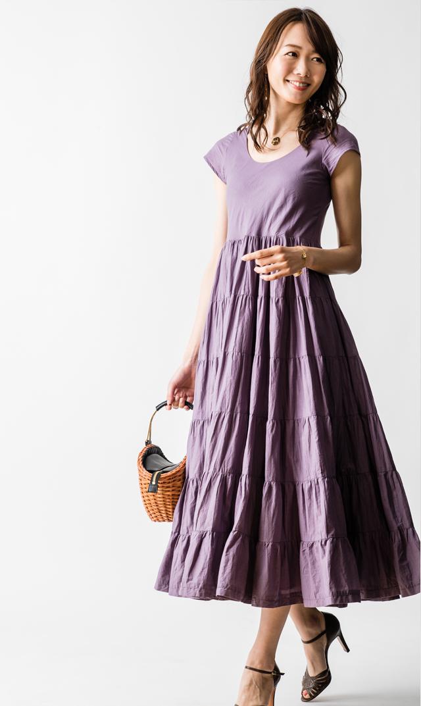 【マリハ(MARIHA)】草原の虹のドレス(グレイシュパープル)