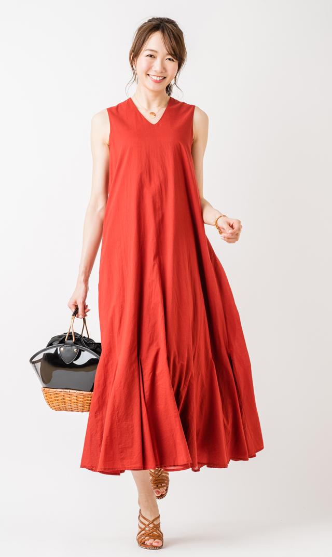 【マリハ(MARIHA)】夏の月影のドレス(ガーネット)