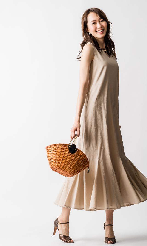 【マリハ(MARIHA)】夏の月影のドレス(トープ)