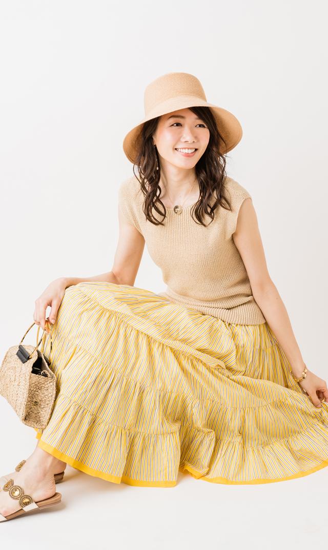 【マリハ(MARIHA)】草原の虹のスカート(イエロー×ストライプ)