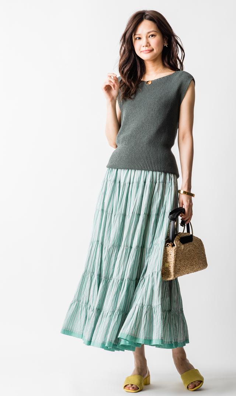 【マリハ(MARIHA)】草原の虹のスカート(ブルー×ストライプ)