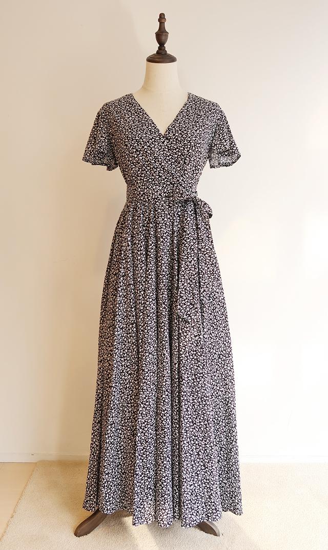 【マリハ】マドモアゼルのドレス(ブラックプリント)