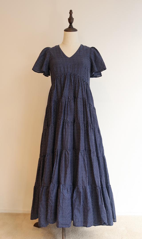 【マリハ】エンジェルのドレス(ネイビー×ドット)