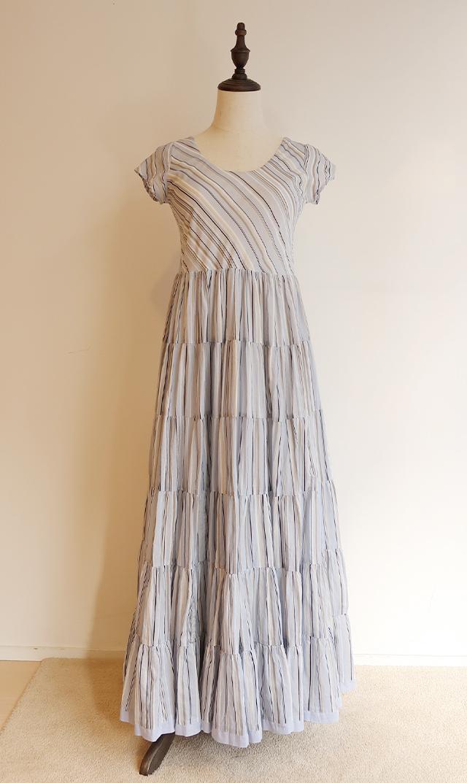 【マリハ】草原の虹のドレス(ブルー×ストライプ)