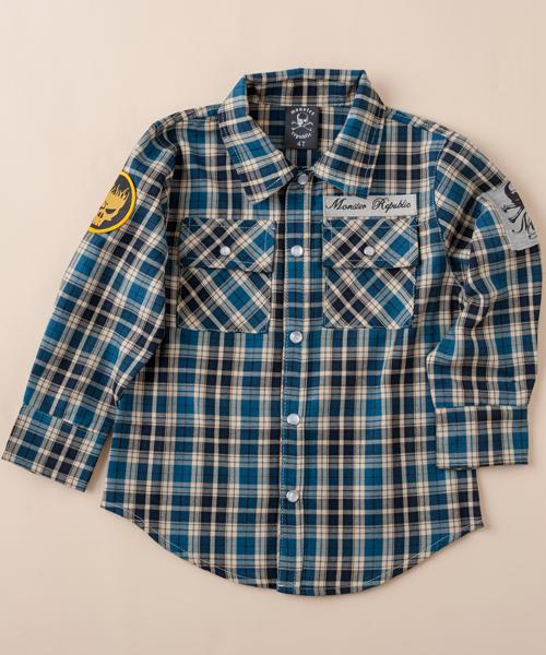 【モンスター リパブリック】チェックシャツ(ブルー)