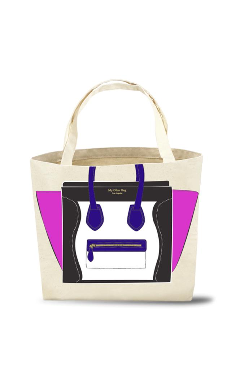 【マイアザーバッグ】オーガニックコットンMadisonエコバッグ(ブルー×ピンク)[アウトレット]