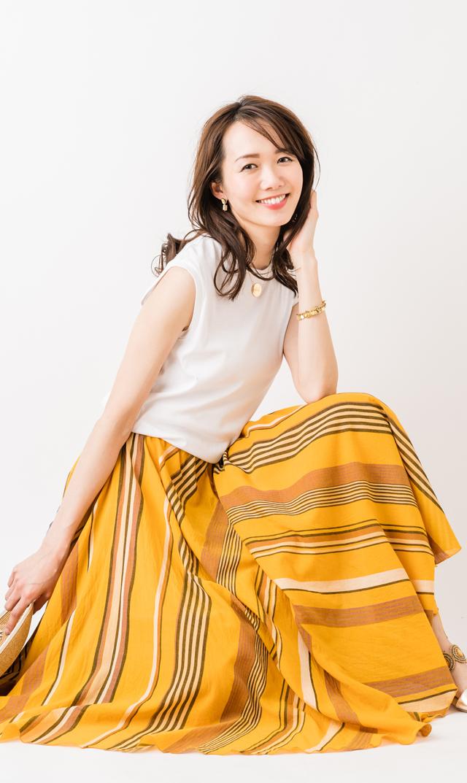 【ヌキテパ(ne Quittes pas)】マルチストライプロングスカート(マスタード)