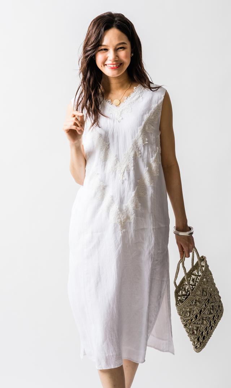 【ヌキテパ】ラミーレースノースリーブドレス(ホワイト)