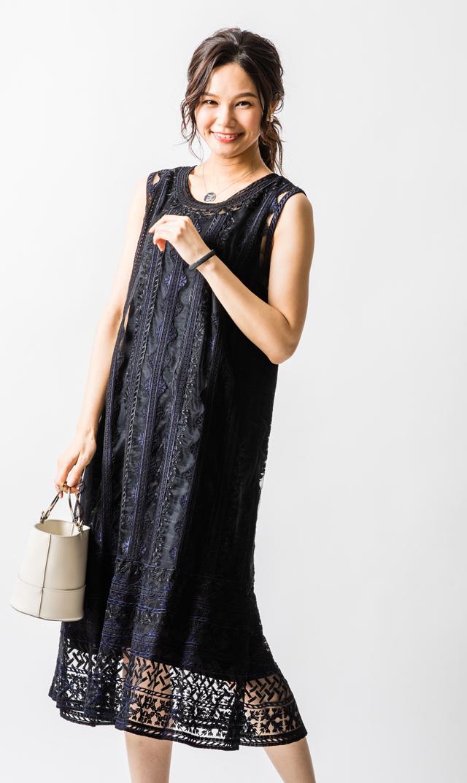 【ヌキテパ】ネットエンブロイダリーノースリーブドレス(ブラック)