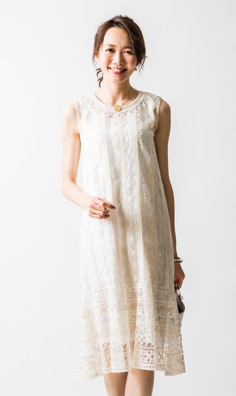 【ヌキテパ】ネットエンブロイダリーノースリーブドレス(ホワイト)