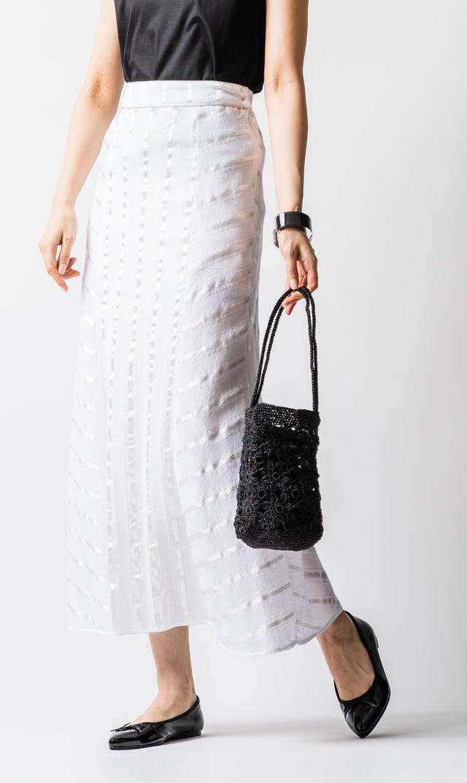 【ヌキテパ】ドビーストライプタイトスカート(ホワイト)