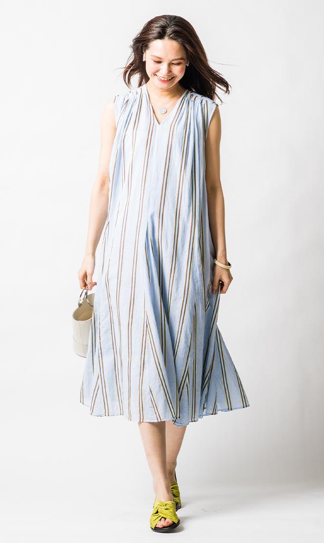 【ヌキテパ】コットンボイルストライプドレス(ブルー)