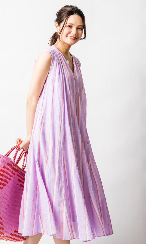 【ヌキテパ】コットンボイルストライプドレス(ライラック)