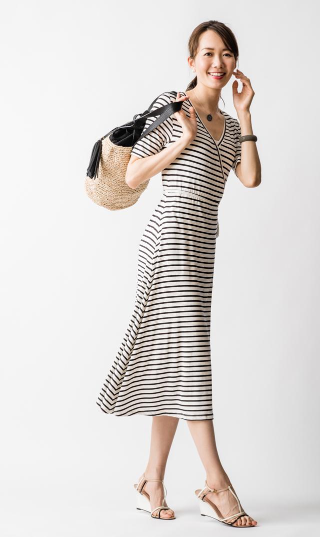 【ノム(NOM)】マヤストライプラップロングドレス(ブラック×ホワイト)