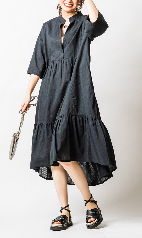 【ノーメント】ジャガードスキッパードレス(ブラック)