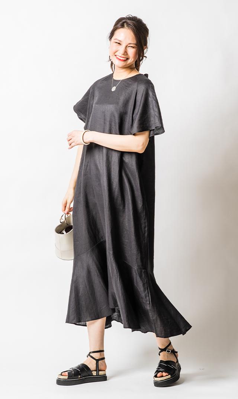 【ノーメント】ラミーバック リボンドレス(ブラック)